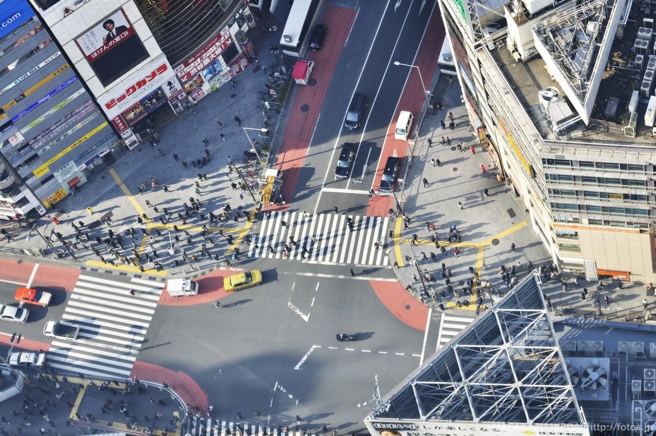渋谷ヒカリエからの俯瞰視点の写真