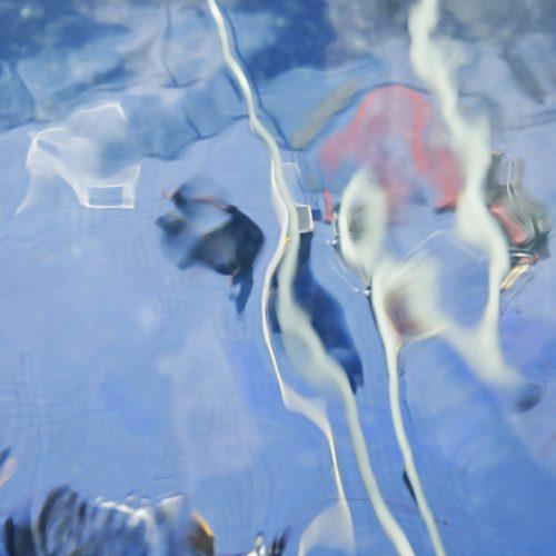 オアシス21の水面から銀河の広場を見る