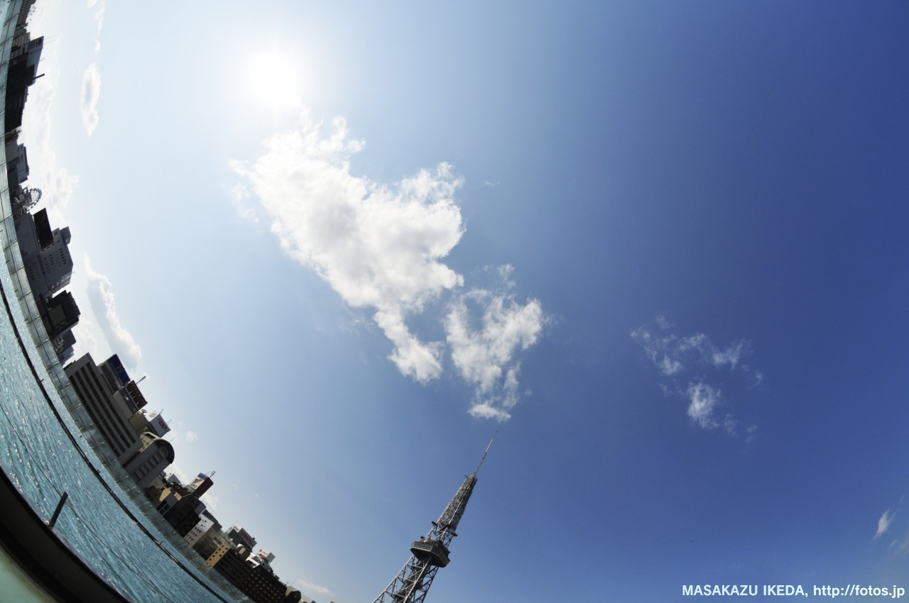 オアシス21とテレビ塔と雲(魚眼レンズ撮影)