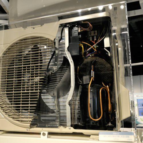 名古屋市科学館:エアコンの室外機のスケルトン